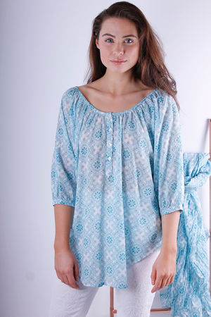 Odysee Cotton Smock Top Love Blue