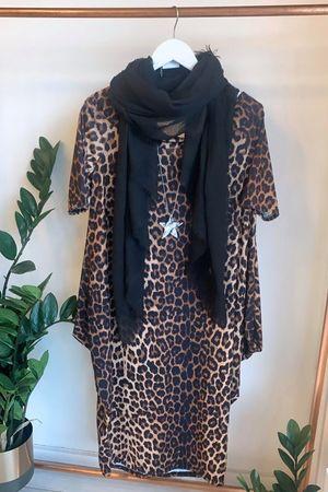 Off Shoulder Parachute Dress Leopard