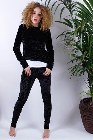 Olivia Crushed Velvet Lounge Suit Black