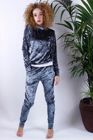 Olivia Crushed Velvet Lounge Suit Pewter