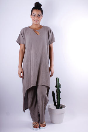One Life Asymmetric Tunic Frenchy Stone