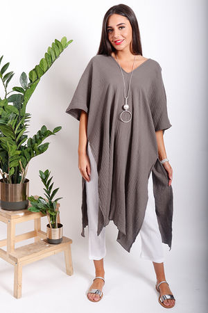 One Life Iris Longline Split Side Top Taupe