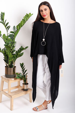 One Life Jack Oversized Point Hem Top Black