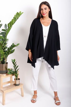 One Life Jilly Drape Front Jacket Black
