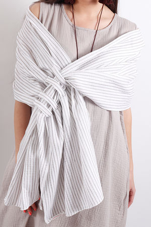 One Life Loop Scarf Taupe Stripe
