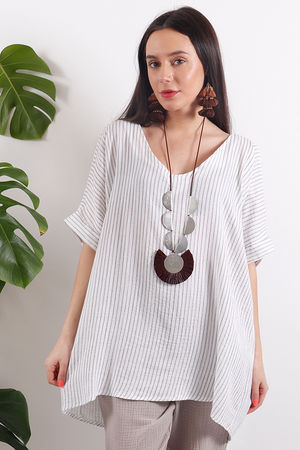 One Life Olivia Top Taupe Stripe
