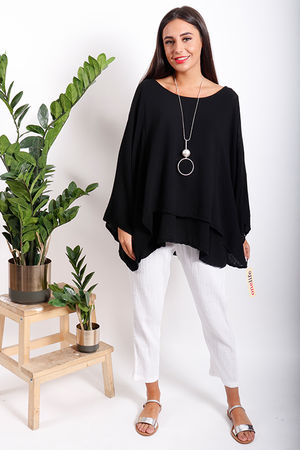 One Life Twins Double Layer Top Black