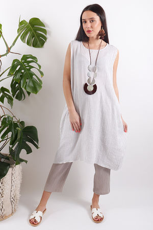 One Life Viva Tunic Taupe Stripe