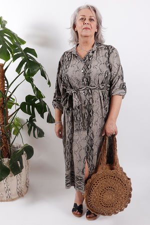 Out of Africa Cobra Tie Dress Bark