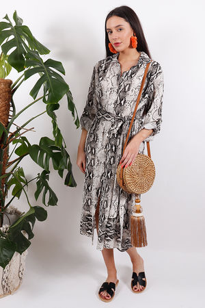 Out of Africa Snake Tie Dress Coconut