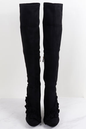 Over The Knee Ruffle Boots Black