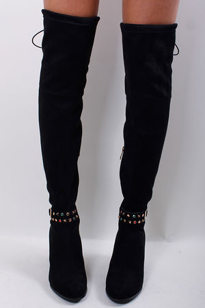 Over the Knee Stud Boots Black