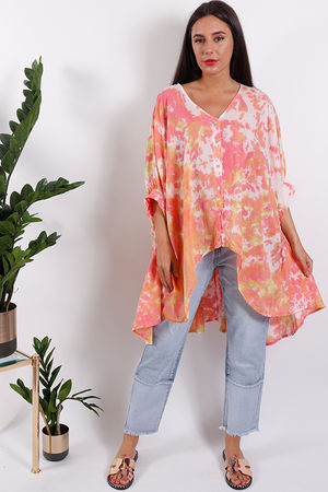 Oversized Acid Dream Top Coral
