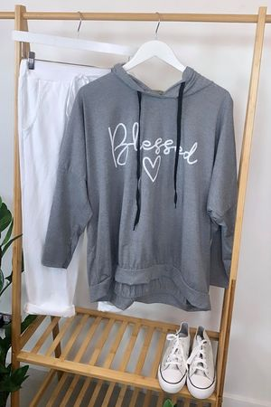 Oversized Blessed Hoody Grey Marl