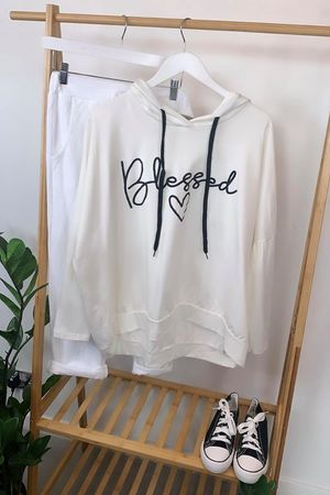 Oversized Blessed Hoody Warm White
