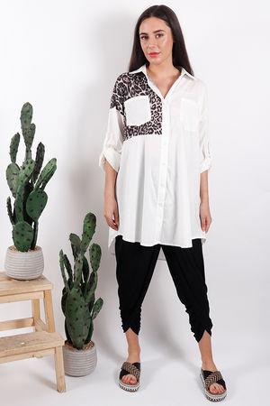 Oversized Block Leopard Shirt Cream