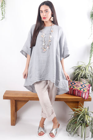 Oversized Button Back Linen Top Dove