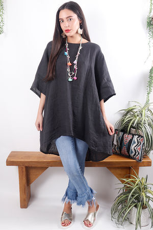 Oversized Button Back Linen Top Gaphite