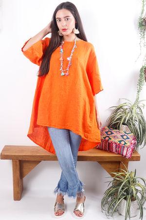 Oversized Button Back Linen Top Tangerine