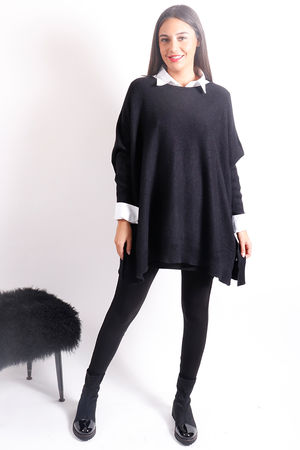 Oversized Button Knit Black