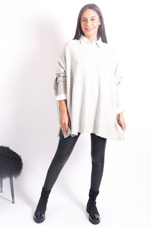 Oversized Button Knit Cream