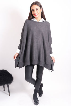Oversized Button Knit Graphite