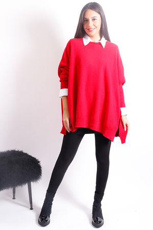 Oversized Button Knit Red