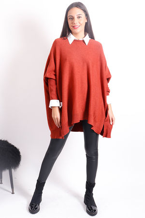 Oversized Button Knit Rust