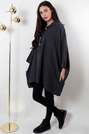 Oversized Button Up Linen Top Charcoal