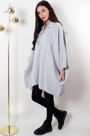 Oversized Button Up Linen Top Light Grey