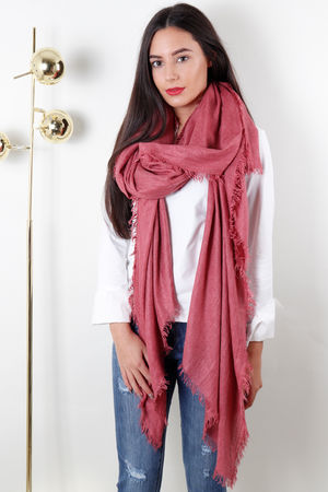 Oversized Chevron Raw Edge Scarf Strawberry