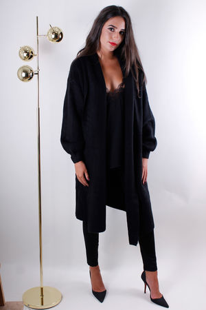 Oversized Chunky Knit Cardigan Black