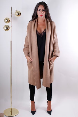 Oversized Chunky Knit Cardigan Tan