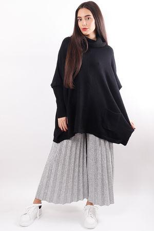 Oversized Cowl Box Knit Black