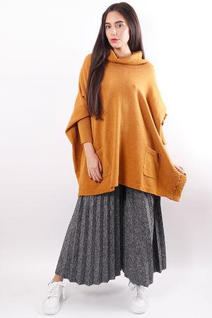 Oversized Cowl Box Knit Mustard