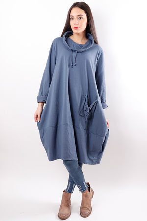 Oversized Cowl Tunic Denim