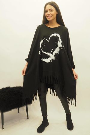 Oversized Dip Side Heart Tassel Sweat Black