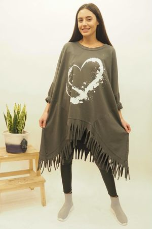 Oversized Dip Side Heart Tassel Sweat Graphite
