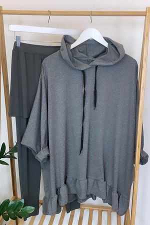 Oversized Frill Hoodie Grey Marl