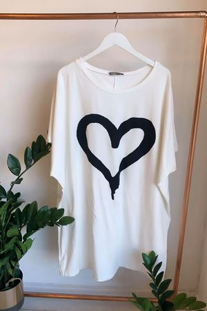 Oversized Heart Tee Dress Warm White