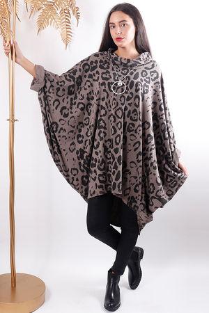 Oversized Leopard Cowl Top Mocha