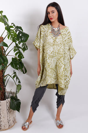 Oversized Linen Fossil Top Lime