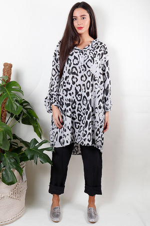 Oversized Longline Leopard Shirt Dove