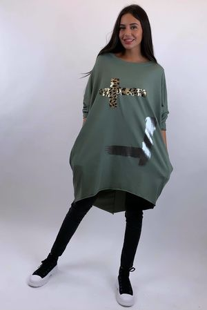 Oversized Metallic Paint Popoon Khaki