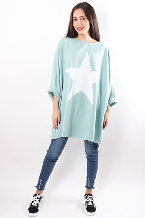 Oversized Paint Star Sweat Aqua