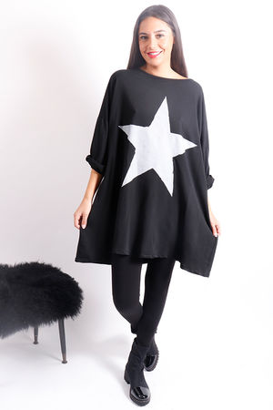 Oversized Paint Star Sweat Black