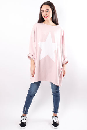 Oversized Paint Star Sweat Blush