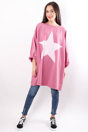 Oversized Paint Star Sweat Bubblegum