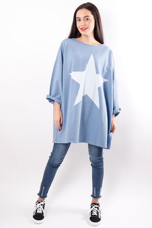 Oversized Paint Star Sweat Denim