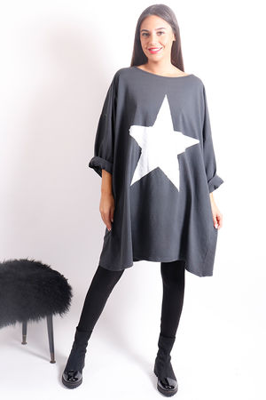 Oversized Paint Star Sweat Graphite